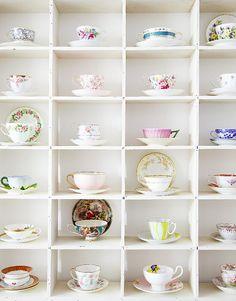 Tea cup display.