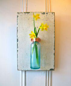 Wall Flower Vase, Antique Bottle, Reclaimed Wood, Aqua Glass, Apothecary, Copper Hanger, Linen White, Duck Egg Chalk Paint. $29.95, via Etsy.