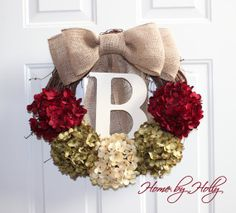 Personalized Christmas Wreath! Red, Green and Cream Hydrangeas on a grapevine wreath with burlap bow