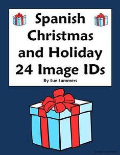 Spanish Christmas Vocabulary 24 Image IDs by Sue Summers - Navidad, holidays