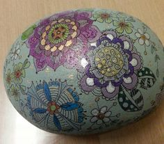 Flowery rock . This is my 3rd try , this rock is about 20cm across . Not varnished yet . Wendy H. May 2014