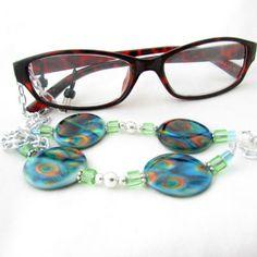 Peacock Eyeglass Lanyard by:-earthlietreasures