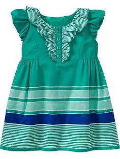 Ruffled Puff-Sleeve Dress-Green Stripes $19.94