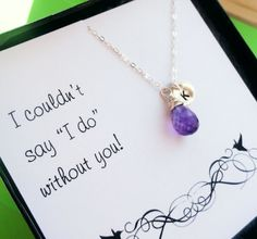 Be My Bridesmaid message Card & personalized necklace set, bridesmaid gifts, bridesmaid cards, ideas for asking bridesmaids via Etsy