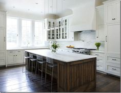 white kitchen cabinets, hardware, wood, kitchen colors, marbles, white cabinets, kitchen islands, stools, white kitchens