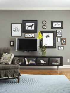 nine different options for television placement in a main living room.