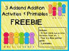 Here's a packet that includes 12 task cards that can be used as a Write the Room Activity, Scoot, or independent practice. Also includes a recording sheet, Four in a Row board game, and 3 printables.