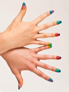 Sheer Nail Polish Nail Art by #AmericanApparel.  #nail #beauty #nailart
