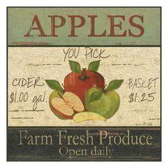 Vintage Fruit Sign Apples appl harvest, berri vintag, delici appl, vintage signs, apples, vintag fruit, vintag ad, vintag sign