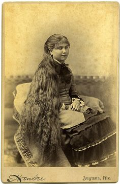 Girl with long hair - vintage cabinet card photo