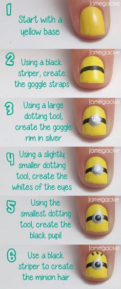 Easy Despicable Me Minion Nails: Supplies : Yellow, black, white and silver ( or glitter! ) Acrylic Paint or Nail Polish and dotting tools, or toothpicks, cotton swabs ( MAYBE cotton swabs. Not very reliable in small projects and crafts involving something like paint or Nail Polish. ), and some clear Nail Polish or one of those shiny sealer paints ( forgot the name ).