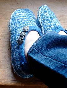 upcycle wool sweater into slippers - tutorial