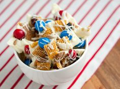 Patriotic Chex Mix® - get invited to a picnic last minute? This is a super easy to make.