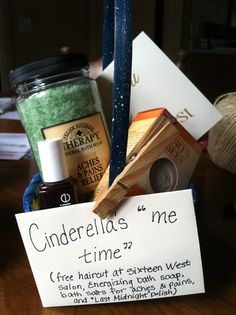 "Cinderella's ""Me Time"" Gift Basket. This is CUTE! - We could get a gift certificate for a local salon"