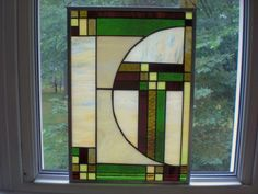 Craftsman Style Stained Glass Panel. $58.00, via Etsy.