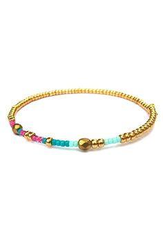 Julia Arm Candy Beaded Bracelet Memory Wire Bracelet Asymmetrical Seed Bead Bracelet Bangle Arm Candy