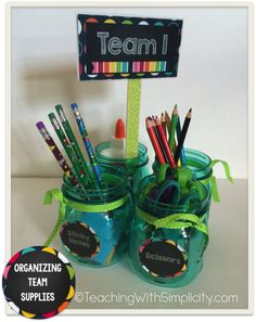 Different ways to organizing team supplies. A Bright Ideas post!
