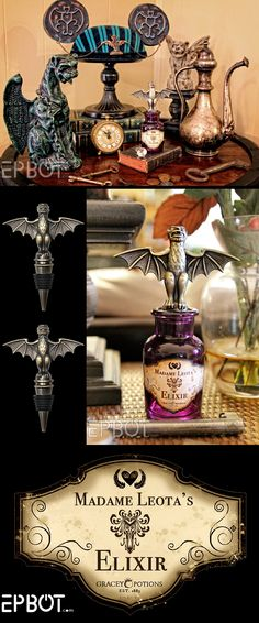DIY: Madame Leota Elixer.  FREE PRINTABLE label.  Now you have a perfect way to display the Haunted Mansion Gargoyle Bottle Stopper sold by Disney.  Spooky wonderful Haunted Mansion Halloween Party.