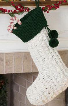 Free Crochet Cable Stocking Crochet Pattern