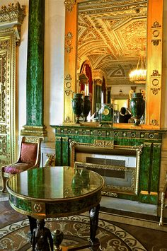 The Malachite Room in St Petersburg Winter Palace, designed in the late 1830s by the architect Alexander Briullov for use a formal reception room for the Empress Alexandra Fyodorovna, wife of Nicholas I. It replaced the Jasper Room, which was destroyed in the fire of 1837.