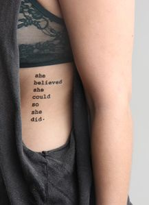 The tattoo isn't what I like, but the placement is perfect!  I need some money to get one and some more piercings!
