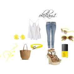 Hint of yellow, created by okikam1 on Polyvore