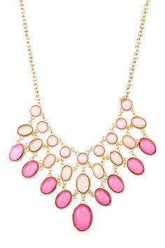 Ombre Colored Progressive Oval Bib Necklace