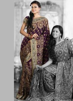 Beautiful embroidered crepe saree. Love how ornate it all is.