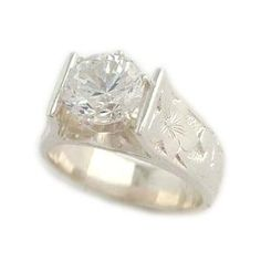 1.5ct French Mount Hawaiian Heirloom Jewelry Silver Wedding Ring