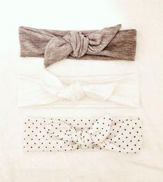 Jersey Knit Baby Girl Headband Tie Knot - Gray - Polkadots -striped -polka dot - aztec - jersey -bow - tie knot -stretch -baby toddler adult