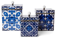 Patterned Blue Tin Boxes