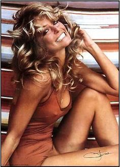Farah Fawcett wore the bathing suit for a photo shoot shortly before her debut on Charlie's Angels in 1976. The resulting poster sold millions of copies and became the best selling poster of all time, according to Smithsonian curator Dwight Bowers. Bowers compared the poster to World War II pinups of Betty Grable and Rita Hayworth, saying it became a symbol of the 1970s era.