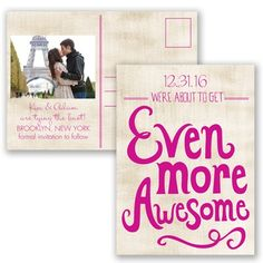 Awesome Couple - Begonia - Save the Date Postcard | Invitations By David's Bridal