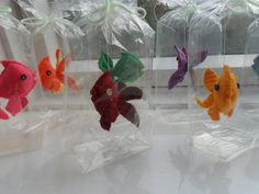 Felt goldfish floating in a bag!