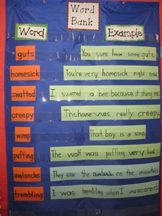 Vocabulary Word Bank - students took turns creating sentences. One student would write a word, another would come up and add a word, and another, until the vocabulary word was used correctly.