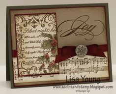 All supplies are Stampin' Up!  Stamps: Christmas Collage background, The Sounding Joy (Holiday Mini), Musical Notes Wheel  Paper: Always Artichoke, Cherry Cobbler, Very Vanilla, Crumb Cake  Ink: Soft Suede, Cherry Cobbler, Always Artichoke