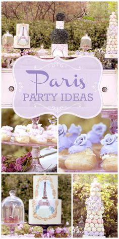 Celebrate Paris in the Spring with these ideas, including purple cream puffs, a macaron tower and gorgeous cakes!