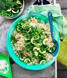 Pea and cucumber rice salad