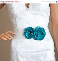 25 sale ends midnight Bridal flower sash teal by OliniBridalSashes, $31.50
