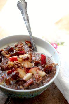 Teff Porridge with apples, dates, and pecans