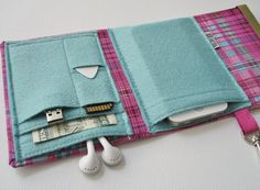 Nerd Herder gadget wallet in Pink Plaid for iPod, Android, iPhone, MP3, digital camera, smartphone, guitar picks on Wanelo
