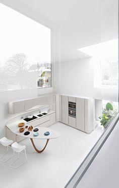 Massive windows for an all white kitchen