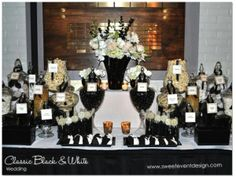 Classic-Black-White-Champagne-Candy-Dessert-Buffet @sweeteventdesign  www.sweeteventdesign.com    wedding ideas and inspiration