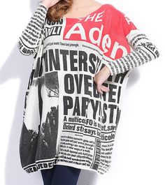 Newspaper oversized, baggy sweater. Looks super cozy and super funky!! #frontpagenews