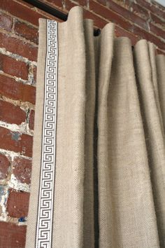 Tight Weave Burlap Knife Pleated Drapery Panel with Greek Key Trim
