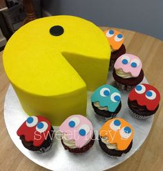 birthday, pac man cakes, ghost cupcak, bakeri, pacman cake, mans cake