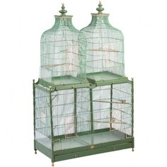 Large French 19th Century Four Compartment Wire Birdcage- George Subkoff Antiques, Inc.