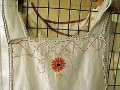 embroidered linen apron