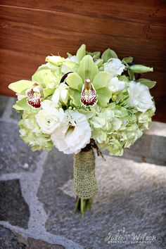 Lovely bridal bouquet with soft greens :)