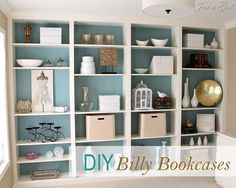 4 ikea bookshelves = one amazing built-in wall unit. Wow. By Just A Girl
